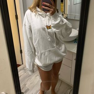 White butterfly hoodie Brandy Melville